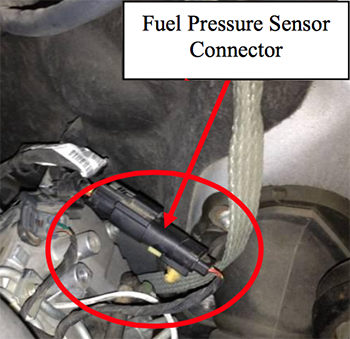 Find the fuel pressure sensor connector for the Truck Edition Module installation.